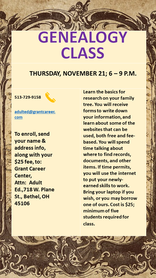 New One-Night Genealogy Class!