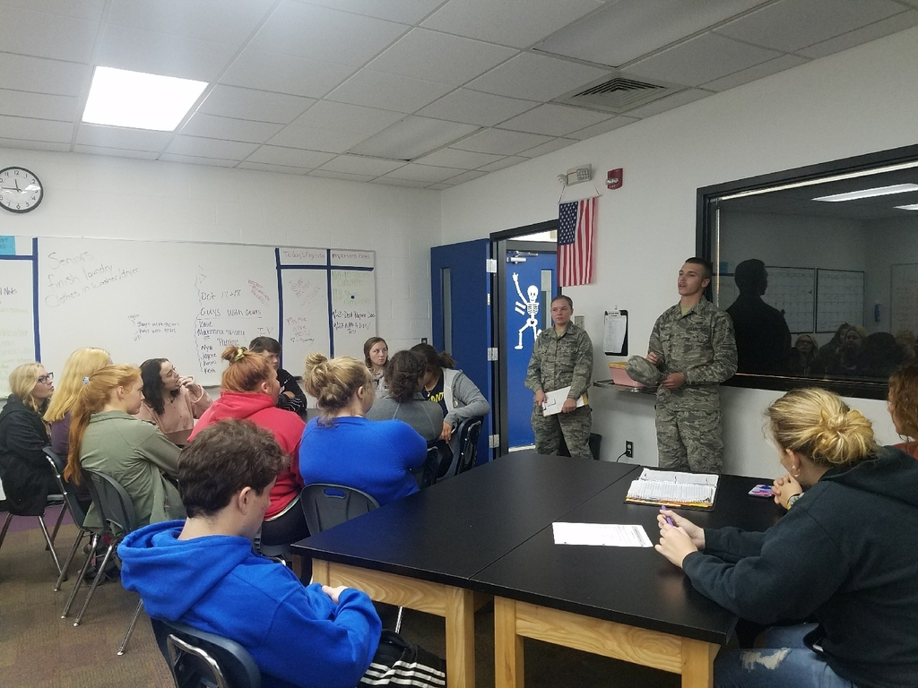 Alumni Airman Pindell came to visit. We love when former students come back to share their success stories!