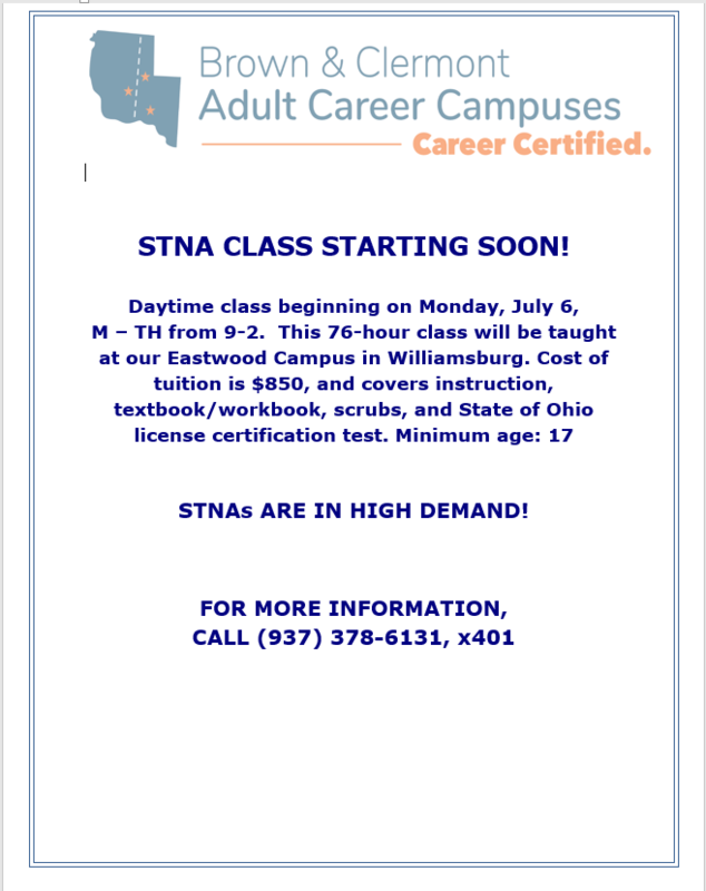 STNA Class Beginning July 6!